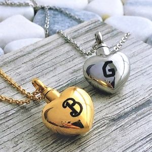 Jewelry - Initial urn letter heart ashes cremation necklace